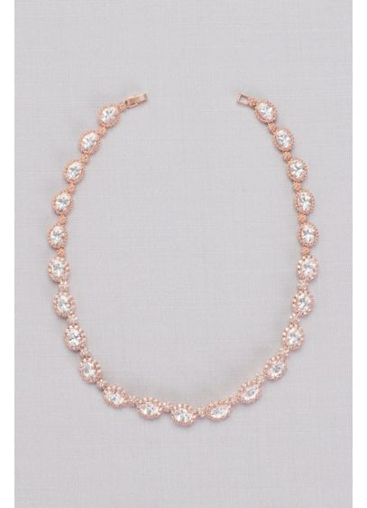 Cubic Zirconia Pave Halo Link Necklace - Chunky gems and fine pave stones blaze brightly